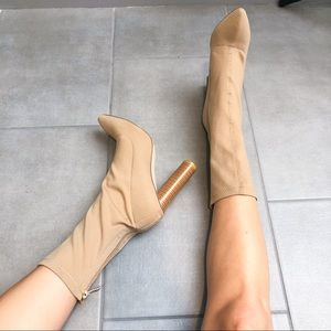 Tan Block Heel Ankle Boots- Size 8